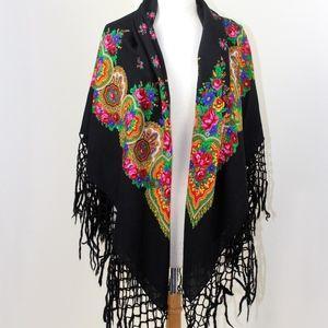 Vintage Russian Shawl Boho Hippie Gypsy Wrap